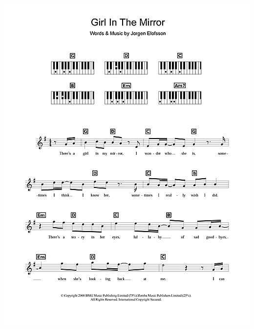 Girl In The Mirror Sheet Music