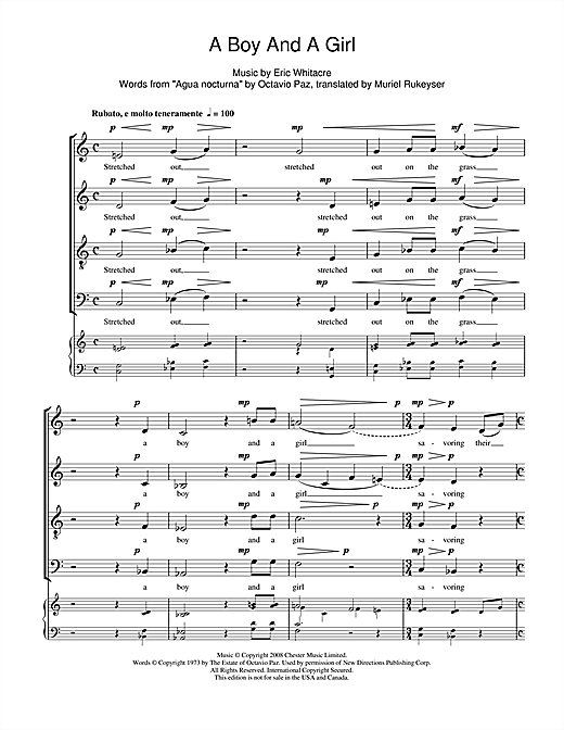 Partition chorale A Boy And A Girl de Eric Whitacre - SATB