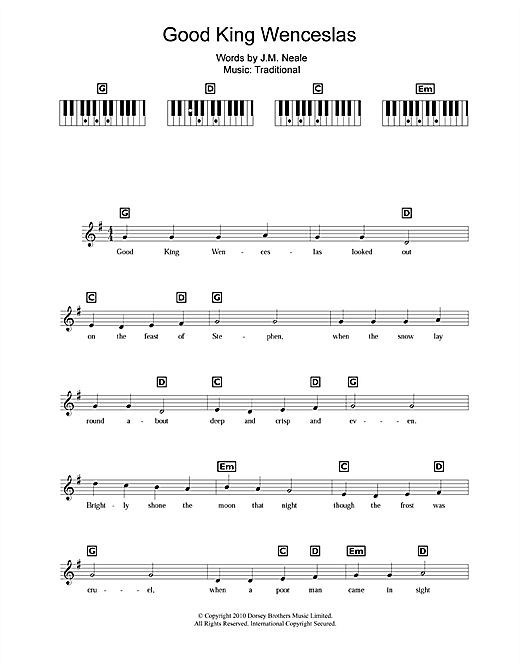 Ukulele ukulele tabs good king wenceslas : Good King Wenceslas sheet music by Christmas Carol (Keyboard – 109195)