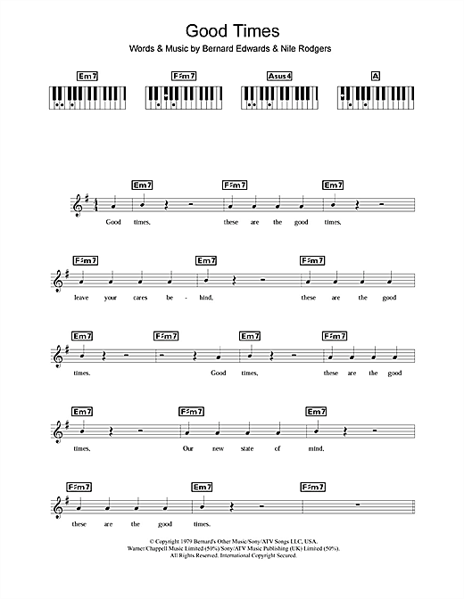 Good Times sheet music by Chic (Keyboard – 109196)