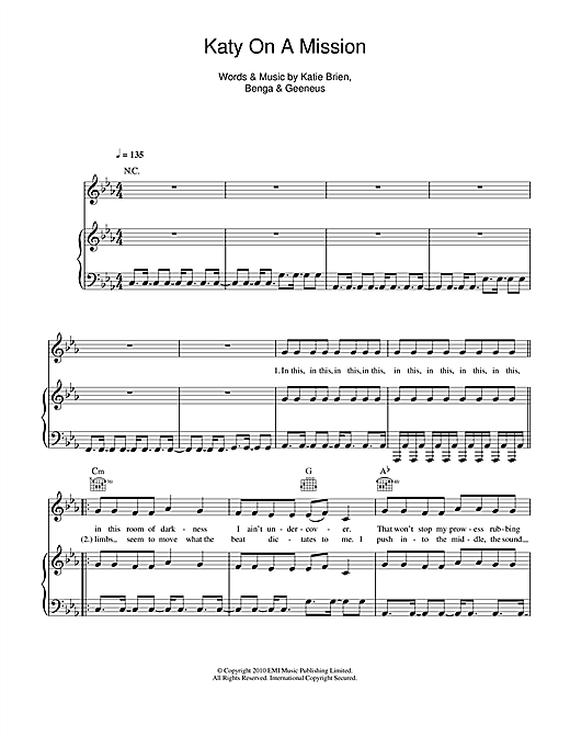 Katy On A Mission Sheet Music