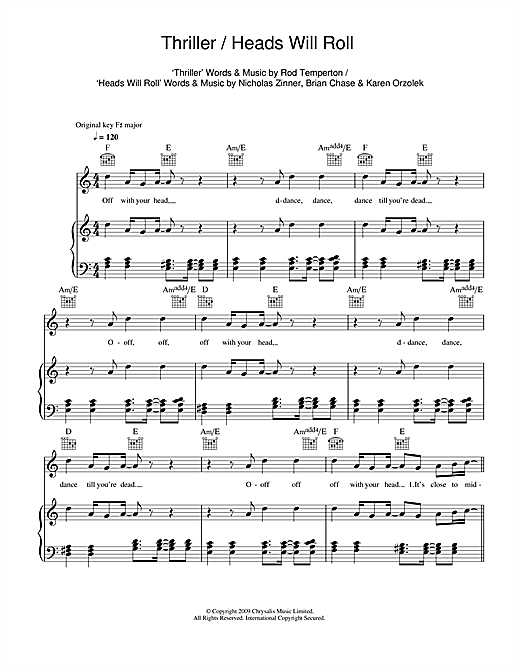 Thrillerheads Will Roll Sheet Music By Glee Cast Piano Vocal