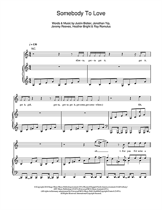 Somebody To Love Sheet Music