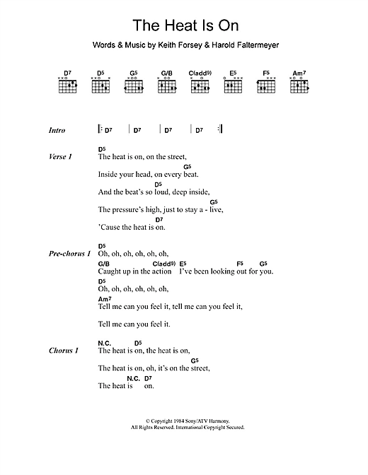The Heat Is On (Guitar Chords/Lyrics)