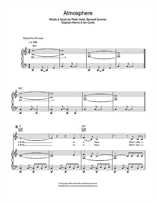 Atmosphere sheet music by joy division piano vocal for Piano diviso
