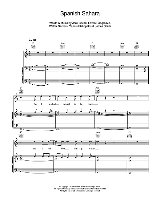 Guitar guitar chords in spanish : Spanish Sahara sheet music by Foals (Piano, Vocal & Guitar (Right ...