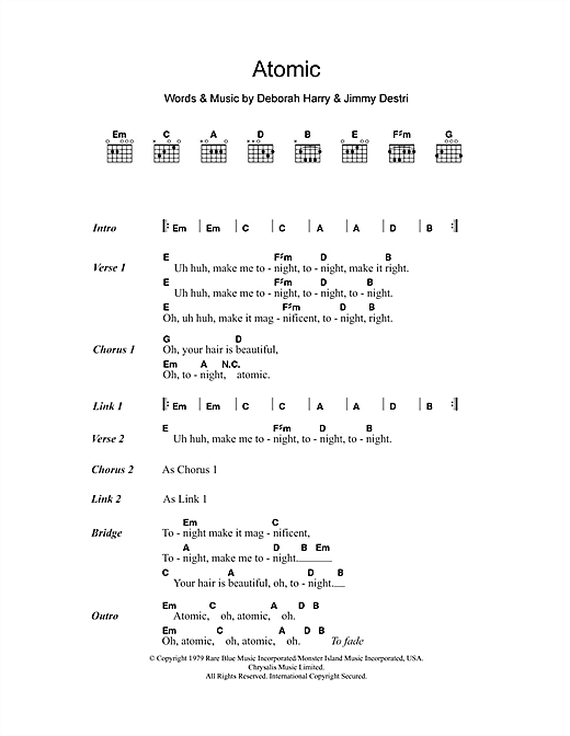Atomic (Guitar Chords/Lyrics)