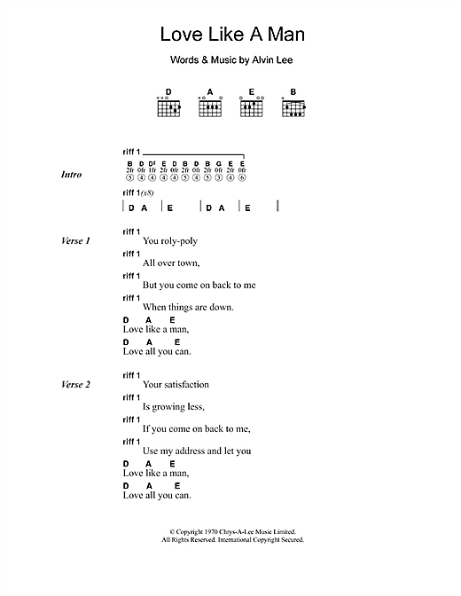 Love Like A Man Sheet Music By Ten Years After Lyrics Chords