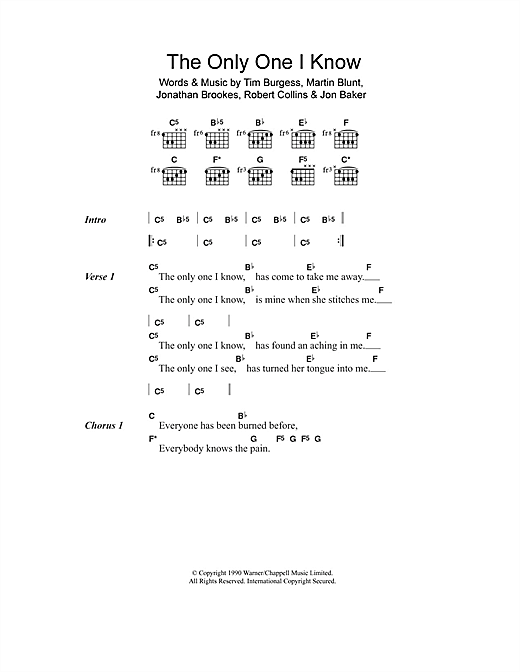The Only One I Know (Guitar Chords/Lyrics)