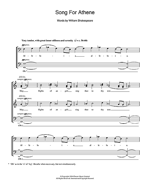 Partition chorale Song For Athene de John Tavener - SATB