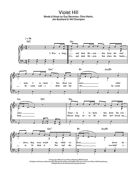 Violet Hill Sheet Music