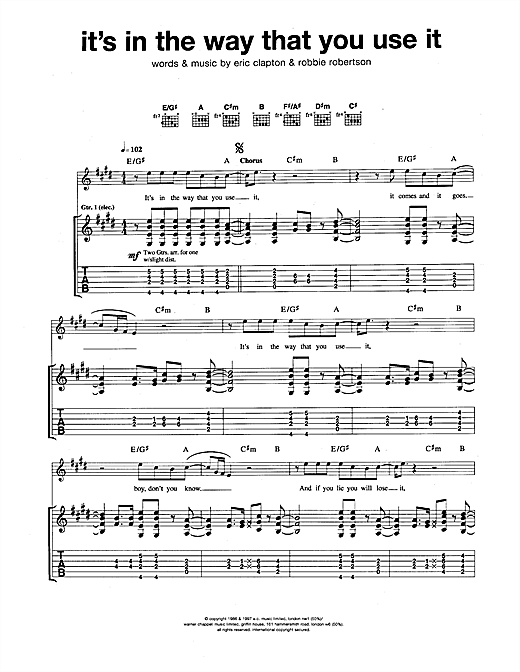 It's In The Way That You Use It Sheet Music