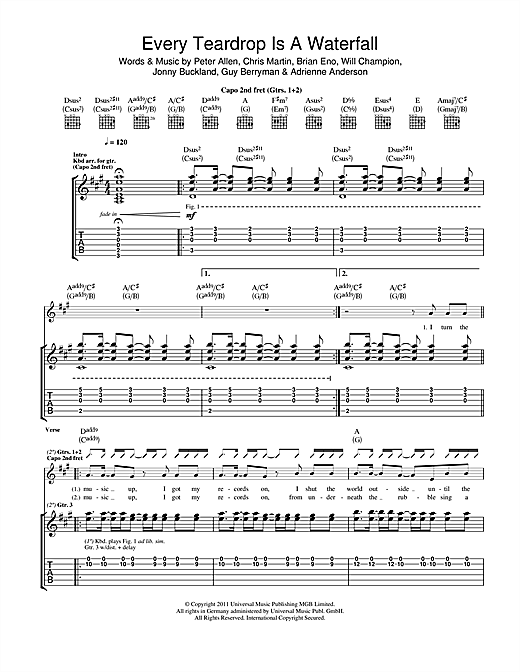 Tablature guitare Every Teardrop Is A Waterfall de Coldplay - Tablature Guitare