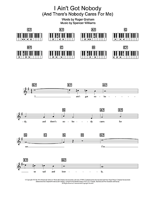 I Ain't Got Nobody (And There's Nobody Cares For Me) Sheet Music