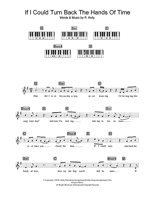 Partition piano If I Could Turn Back The Hands Of Time de R Kelly - Synthétiseur