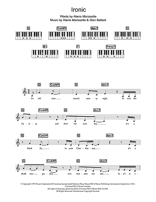 Ironic Sheet Music