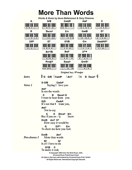 More Than Words Sheet Music By Extreme Lyrics Piano Chords 109425