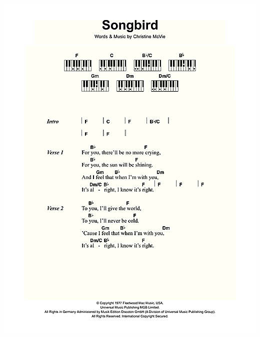 Songbird Sheet Music By Fleetwood Mac Lyrics Piano Chords 109432