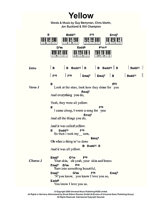 Yellow sheet music by Coldplay (Lyrics u0026 Piano Chords u2013 109437)