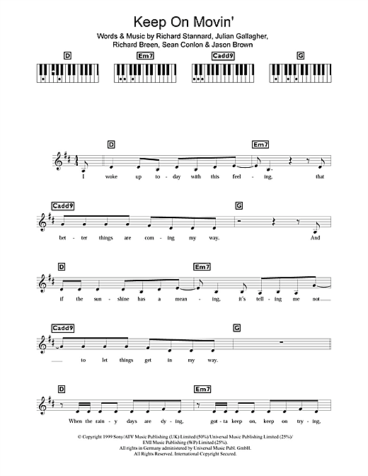Keep On Movin' Sheet Music