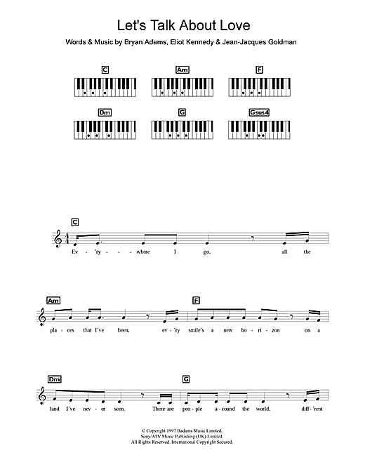 Partition piano Let's Talk About Love de Celine Dion - Synthétiseur