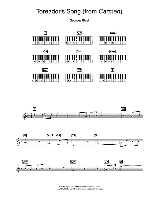 Partition piano Toreador's Song (from Carmen) de Georges Bizet - Synthétiseur