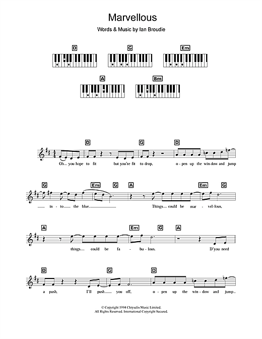Partition piano Marvellous de The Lightning Seeds - Synthétiseur