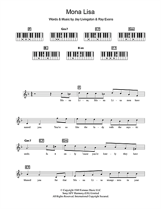 Mona Lisa Sheet Music