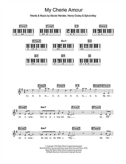 My Cherie Amour Sheet Music By Stevie Wonder Keyboard 109524