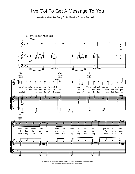 I've Got To Get A Message To You Sheet Music
