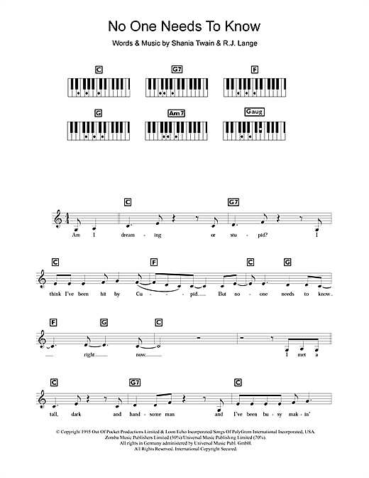 Partition piano No One Needs To Know de Shania Twain - Synthétiseur