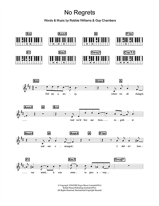 No Regrets Sheet Music
