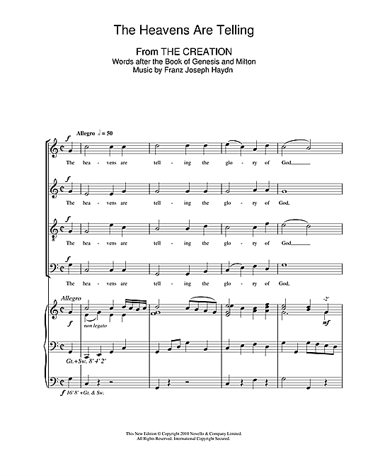 The Heavens Are Telling Sheet Music