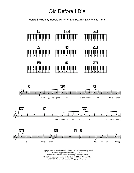 Old Before I Die Sheet Music