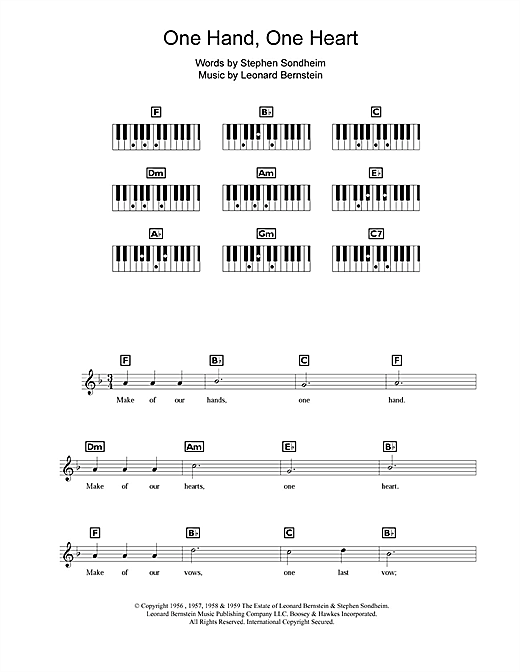 One Hand, One Heart Sheet Music