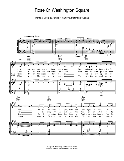 Rose Of Washington Square (Piano, Vocal & Guitar (Right-Hand Melody))