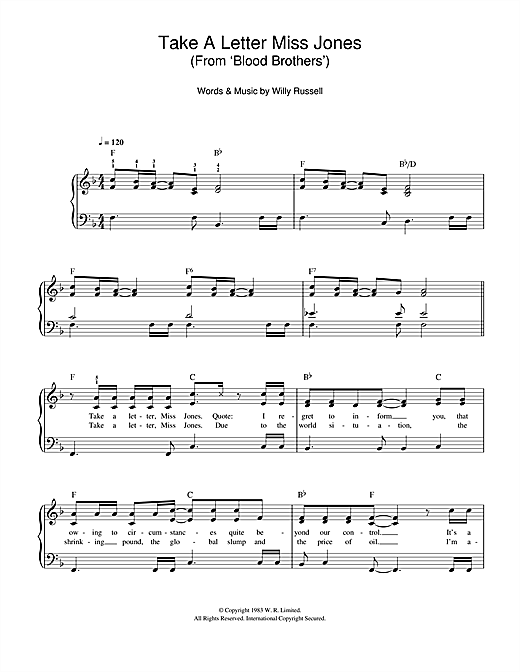 Take A Letter Miss Jones (from Blood Brothers) Sheet Music