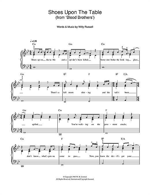 Partition piano Shoes Upon The Table (from Blood Brothers) de Willy Russell - Piano Facile