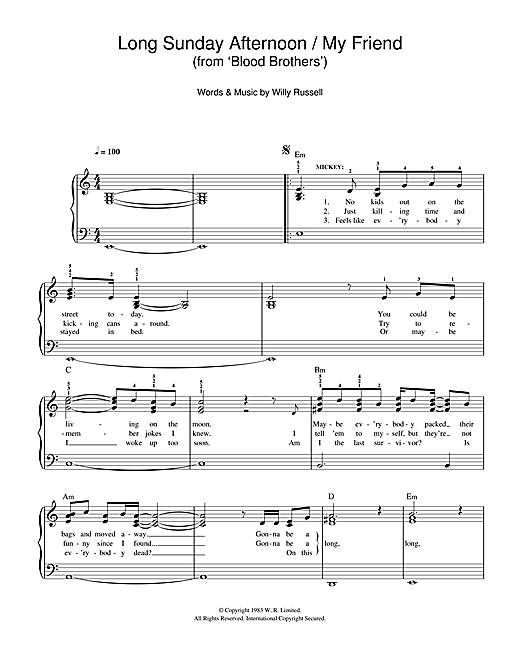 Long Sunday Afternoon/My Friend (from Blood Brothers) (Easy Piano)