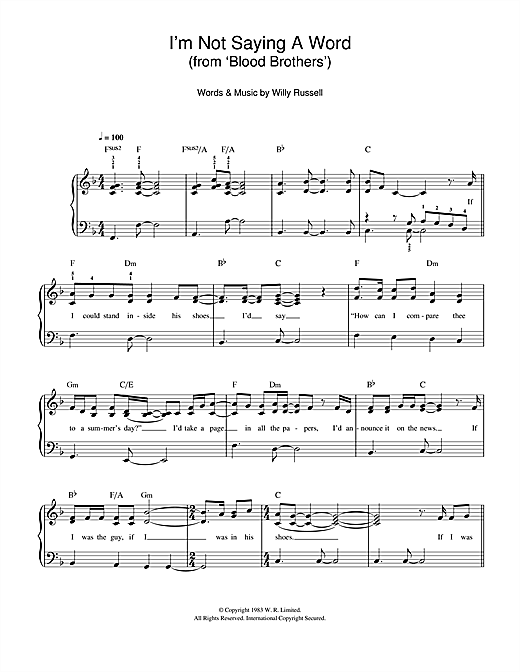 I'm Not Saying A Word (from Blood Brothers) (Easy Piano)