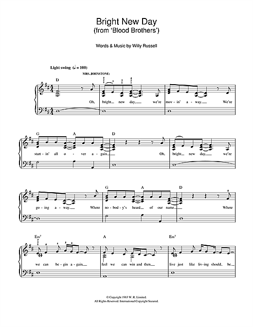 Bright New Day (from Blood Brothers) Sheet Music