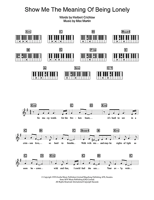 Show Me The Meaning Of Being Lonely Sheet Music
