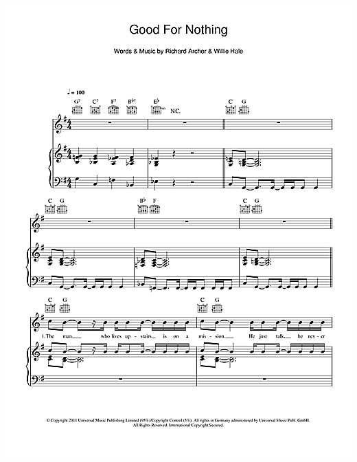 Good For Nothing Sheet Music