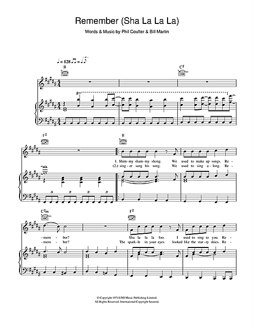 Remember (Sha La La La La) Sheet Music