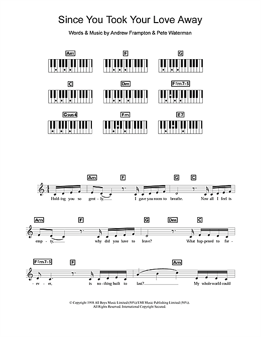 Partition piano Since You Took Your Love Away de Steps - Synthétiseur