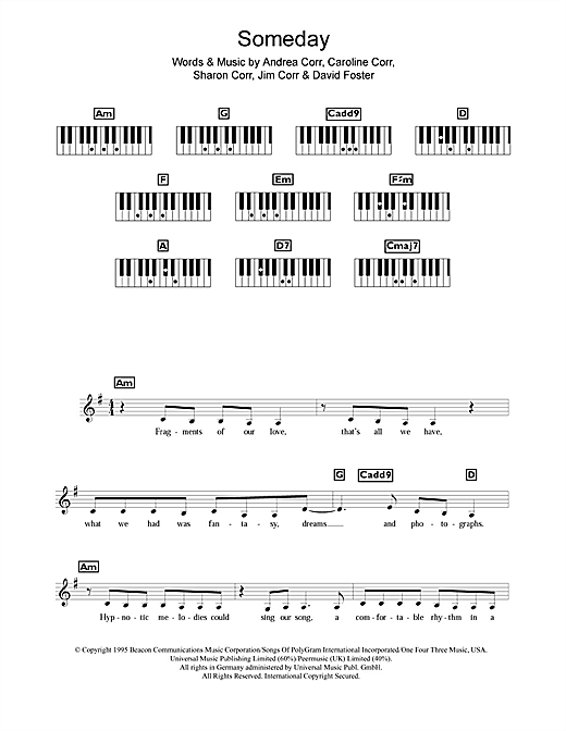 Partition piano Someday de The Corrs - Synthétiseur