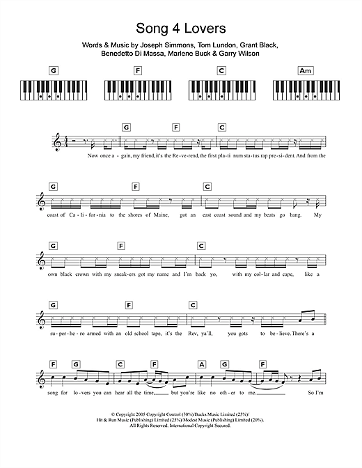 Partition piano Song 4 Lovers de Liberty X - Synthétiseur