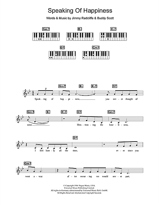 Speaking Of Happiness Sheet Music