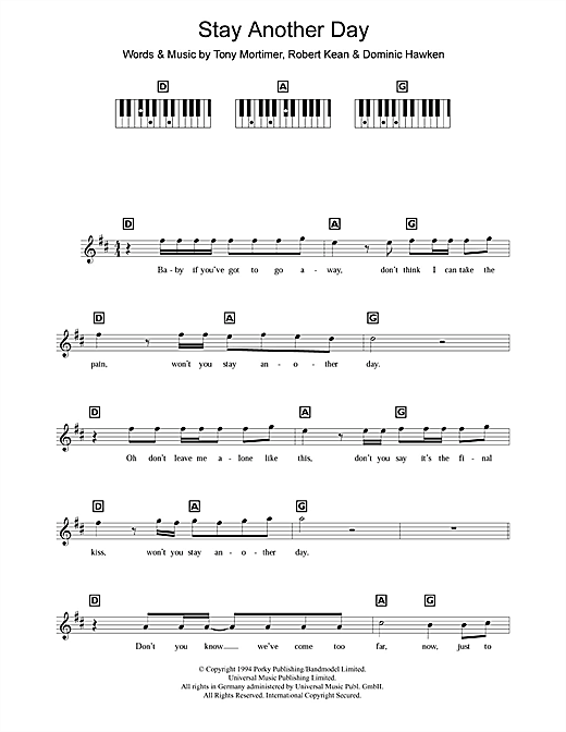 Stay Another Day Sheet Music