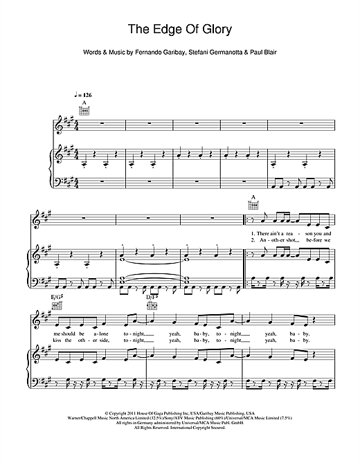 The Edge Of Glory Sheet Music